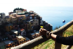 travel memories: cinque terre italian beach and old fish village view from the top