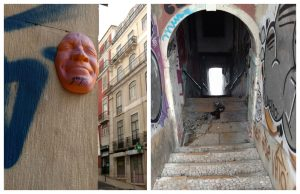 Lisbon historic centre stairs and mask from Mouraria and Alfama