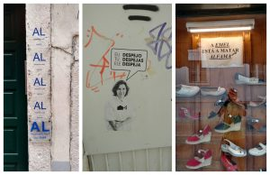 Short-term rental signs and protests against tourism massification in Lisbon