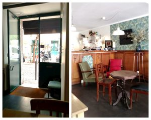 Ninho Brunch Café: Lisbon coffee shop in Mouraria Neighbourhood with vintage chairs, lights and tables with the cafe door outside