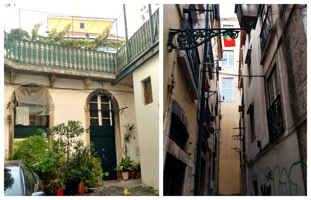 Tiny houses and balconies in Lisbon historic centre Mouraria Alfama