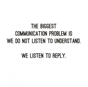 Quote in black and white referring to the biggest communication problem