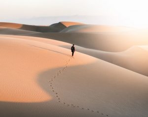 a lonely man walking in the hot desert, illustrating the journey of a digital reputation process