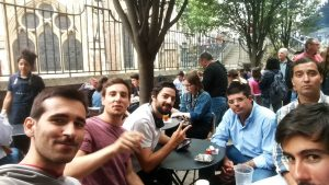 traveling with friends, eating in borough market in london